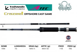 CRAZEE ATEC OFFSHORE CAST GAME S70M MAX.50GR.